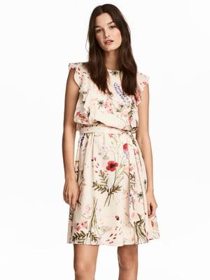Платье кремового цвета в принт   5619978