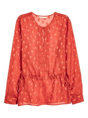 Блуза теракотового кольору в принт | 5620018