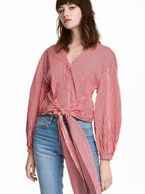 Блуза червоно-біла в смужку | 5620045