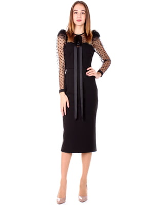Платье черное в горошек | 5619404