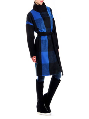 Пальто синее в клетку | 5619416