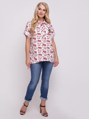 Рубашка белая с принтом   5108937