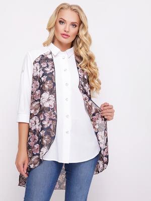 Рубашка двухцветная с цветочным принтом   5109001
