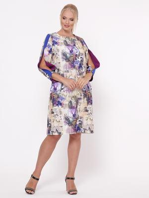 Сукня бежева з квітковим принтом | 5117534