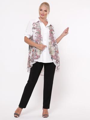 Рубашка белая с цветочным принтом   5117542