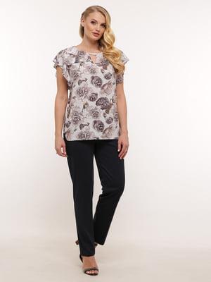 Блуза серая с принтом | 5419760