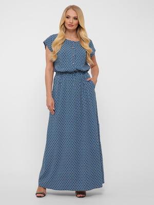 Платье синее в узор | 5460190