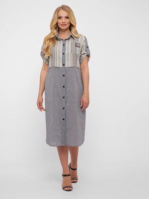 Платье серое в полоску | 5483518