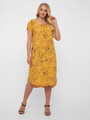 Платье горчичного цвета в принт | 5483522