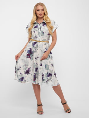 Платье белое в цветочный принт | 5483529