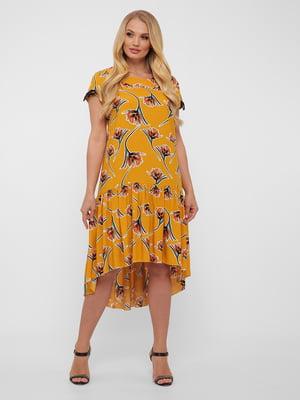 Платье горчичного цвета в цветочный принт | 5483532
