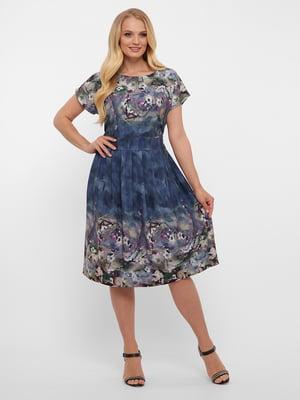 Сукня синя у квітковий принт | 5483535