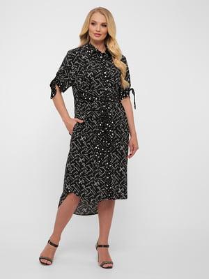 Платье черное в принт | 5483542
