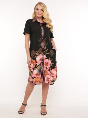 Платье черное в цветочный принт | 5483543