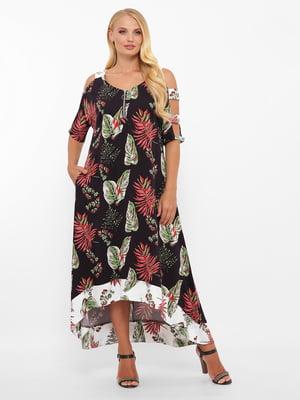 Платье черное в принт | 5533640