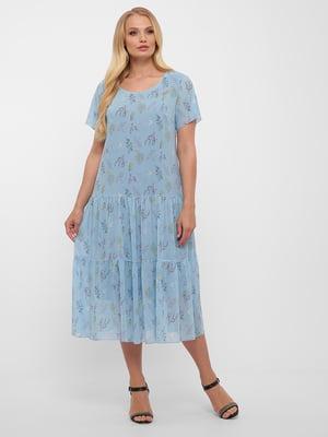 Сукня блакитна у квітковий принт | 5533655