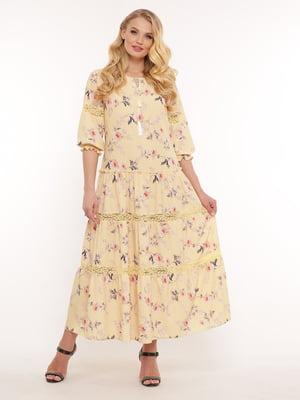 Сукня жовта у квітковий принт | 5533667