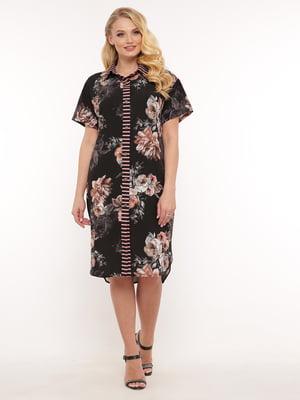 Платье черное в цветочный принт | 5533669