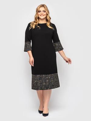 Сукня чорна у принт | 5621728