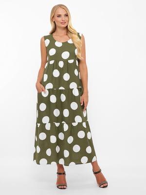 Платье оливкового цвета в горох | 5621740