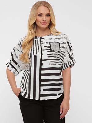 Блуза белая в принт | 5621758