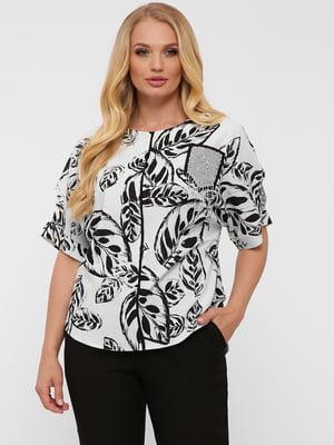 Блуза белая в принт | 5621759