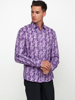 Сорочка фіолетова з принтом | 5621884