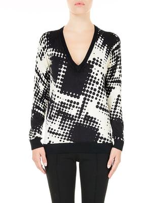 Пуловер черно-белый в принт | 5622177