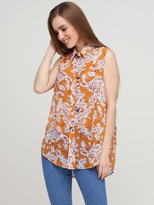 Блуза светло-коричневая с цветочным принтом   5622826