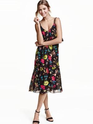 Платье черное с цветочным принтом | 5623086