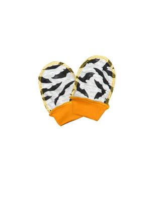 Варежки серо-морковного цвета с принтом   5623274