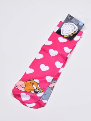 Носки розового цвета в принт | 5614045