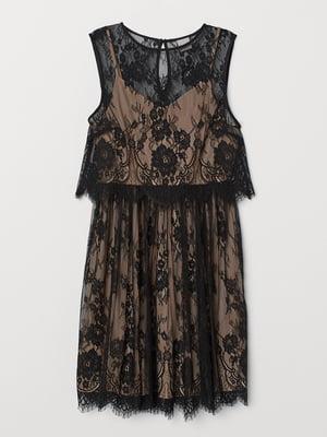Платье черное с цветочным узором   5619524