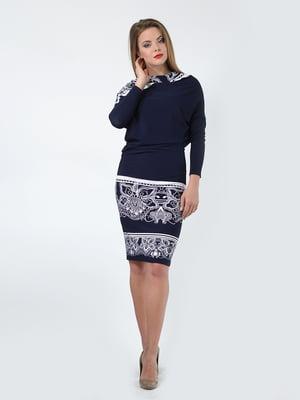 Платье синее с орнаментом | 5620419