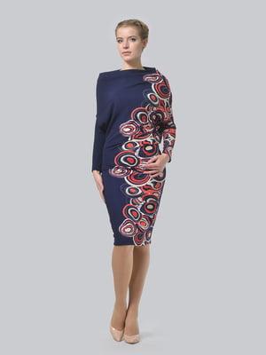 Платье синее с геометрическим принтом | 5620420