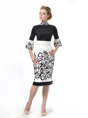 Платье двухцветное в принт | 5620470