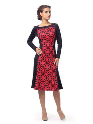 Платье синее с геометрическим принтом   5620531
