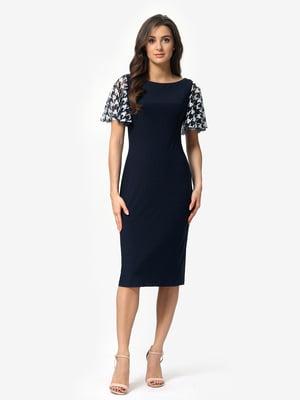 Сукня синя в «гусячу лапку» | 5620725