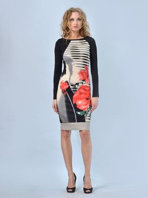 Платье в цветочный принт и в полоску | 5620849