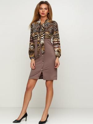Сукня кавового кольору з принтом | 5624015