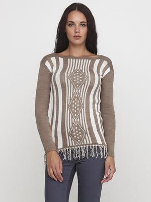 Джемпер бежевого цвета с орнаментом и в полоску | 5624033