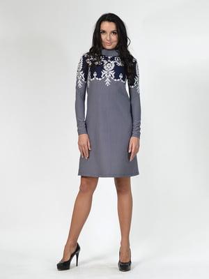 Платье синее с орнаментом | 5620401