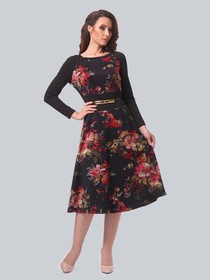 Сукня чорна в квітковий принт | 5620595