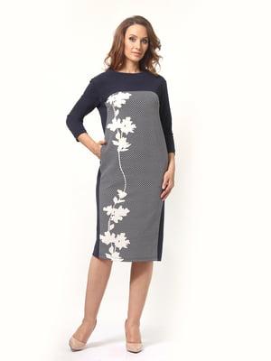 Сукня синя в квітковий принт | 5620619