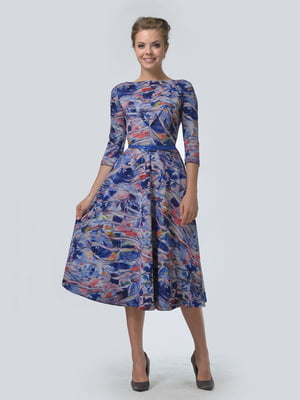 Платье синее в абстрактный принт   5620865