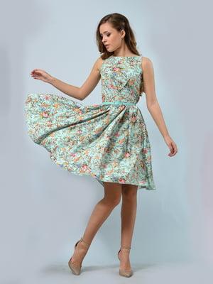 Платье мятного цвета в цветочный принт - LILA KASS - 5621020