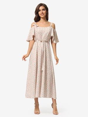 Сукня кольору пудри в квітковий принт | 5621087