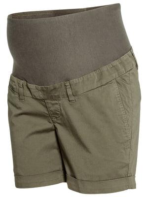Шорти для вагітних кольору хакі | 5624341
