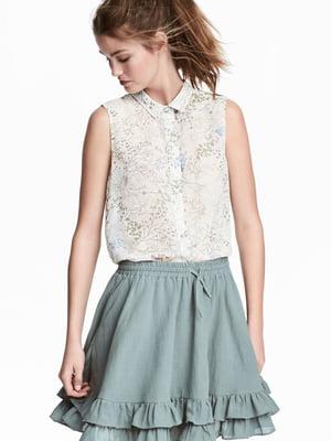 Блуза біла з квітковим принтом | 5624471