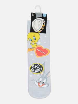 Шкарпетки світло-сірі з малюнком | 5624513